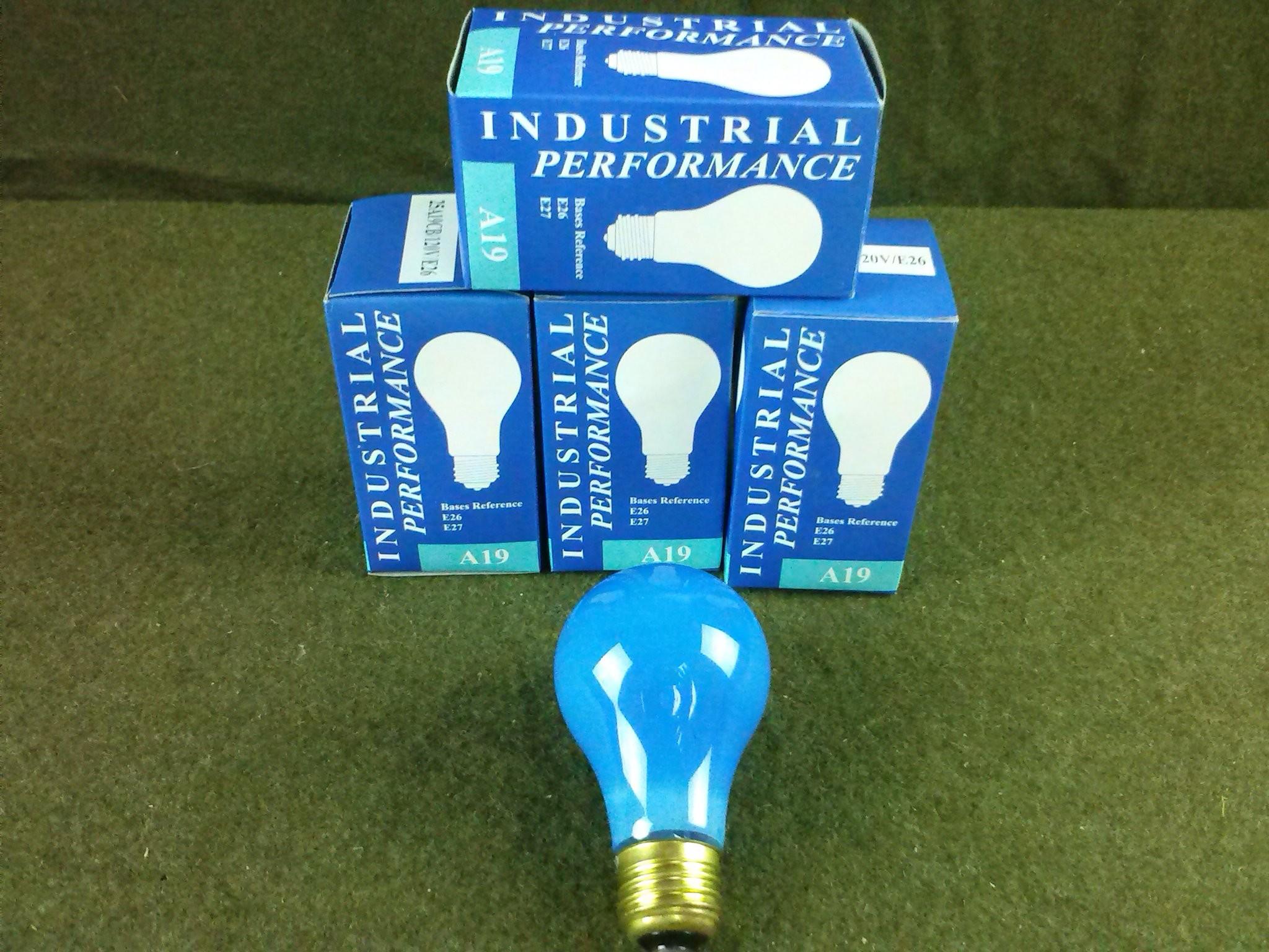 25 Watt A19 E26 Blue Light Bulb Party Light Box of 4 New