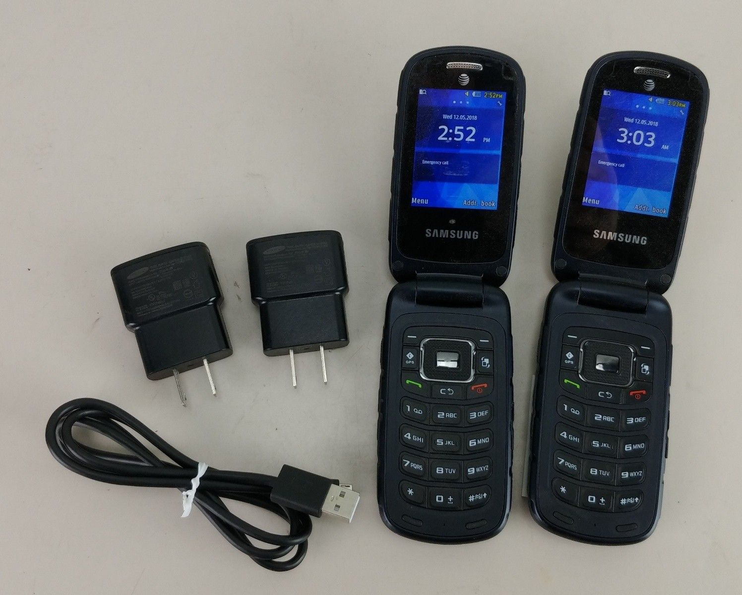2 Samsung Rugby 4 SM-B780A Flip Cell Phone AT&T Used