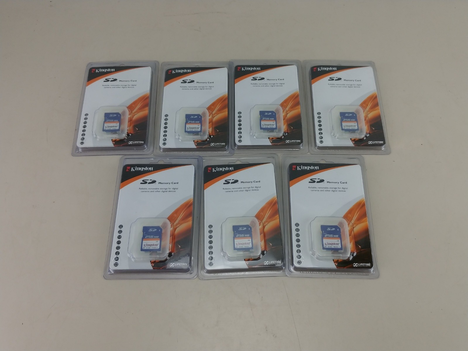 7 Kingston 256MB SD Cards New Sealed