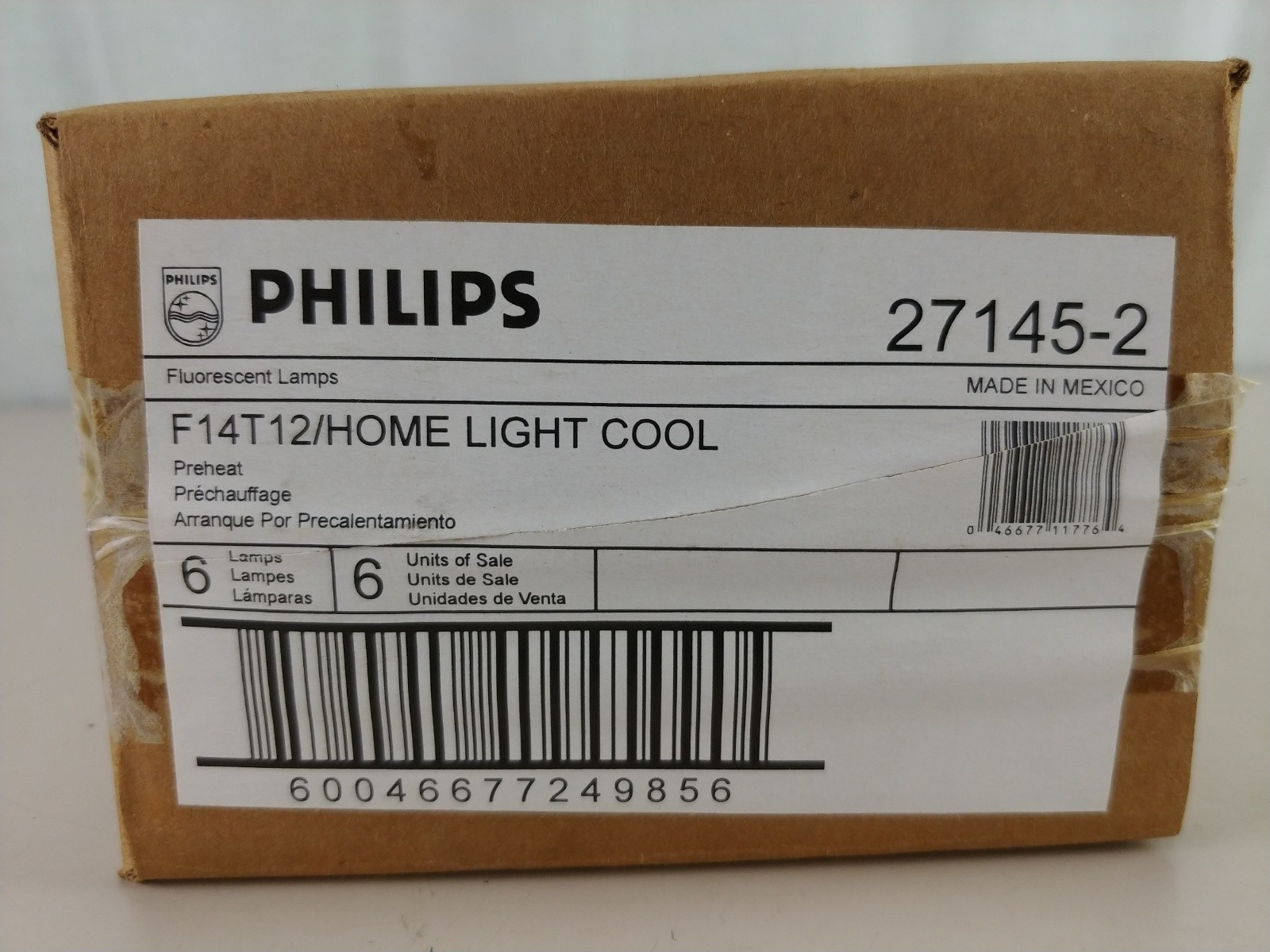 "6 Philips 15"" F14 T12 Fluorescent HOME LIGHT (27145-2) 4100K Cool"
