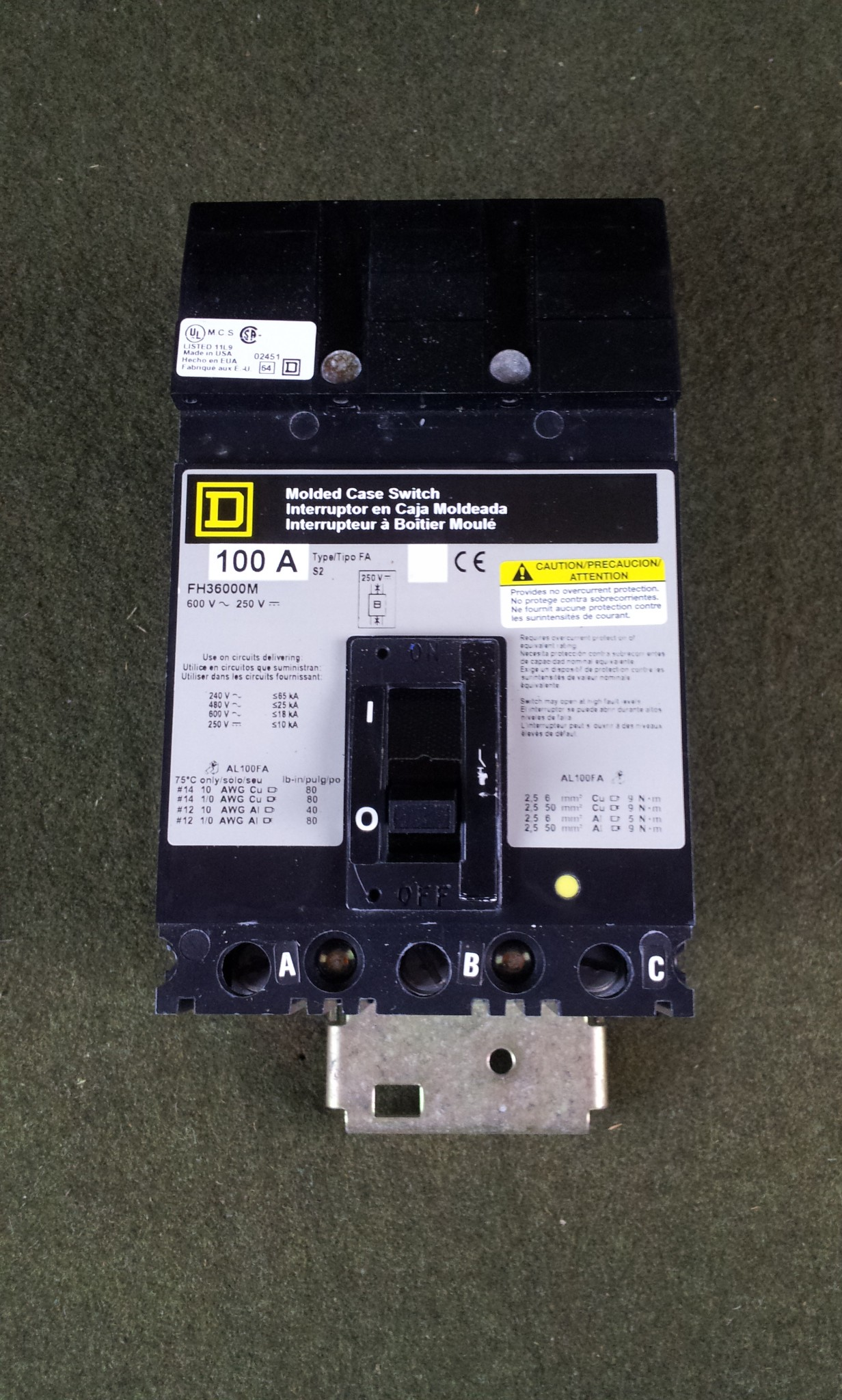 Square D 3 Pole 100A 600V Molded Case Switch FH36000M Circuit Breaker