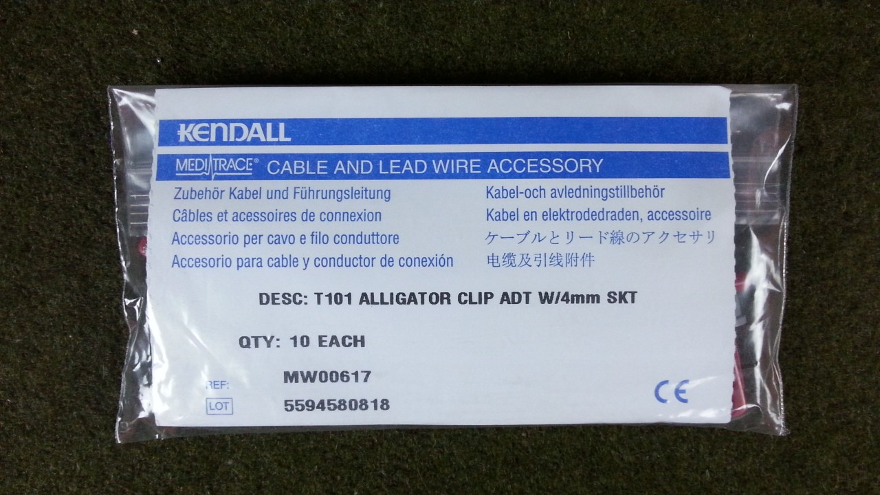 Kendall T101 Cable LeadWire Alligator Clip Adapter 4mm SKT MN00617 ...