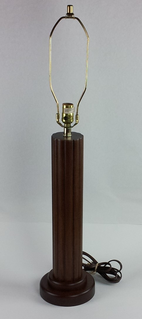 Vintage Dark Walnut Solid Wood Table Lamp By Prestige Products