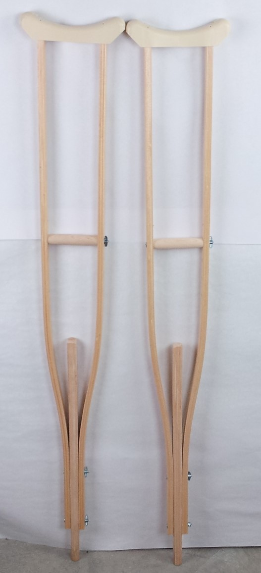 "Wood Crutches Adjustable 48"" to 60""  Calley & Currier"
