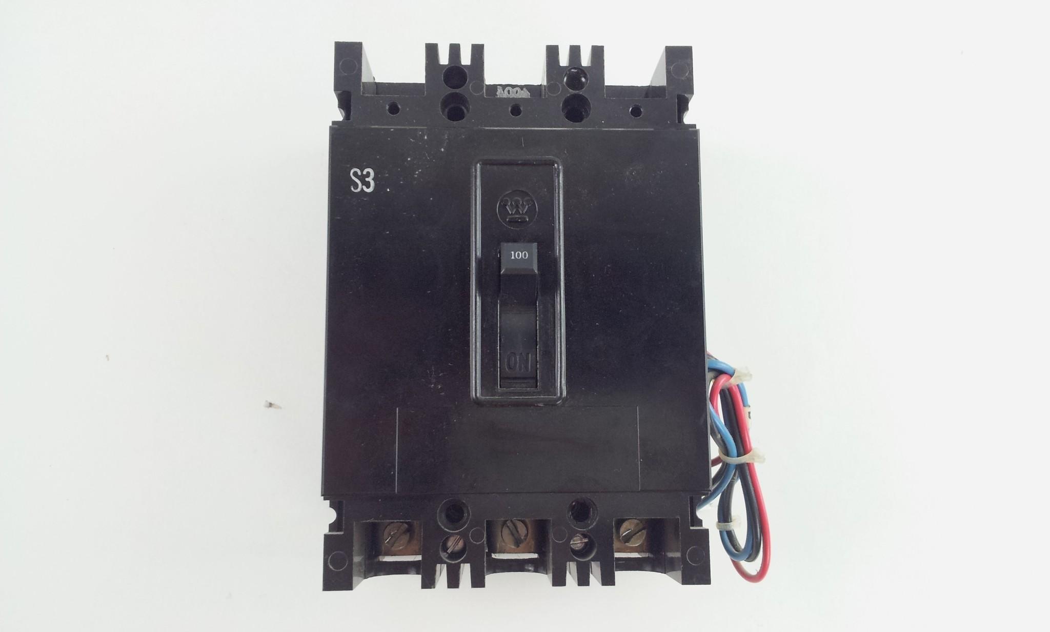 Westinghouse 100A 480V 3 Pole AB De-Ion Circuit Breaker EBH Frame