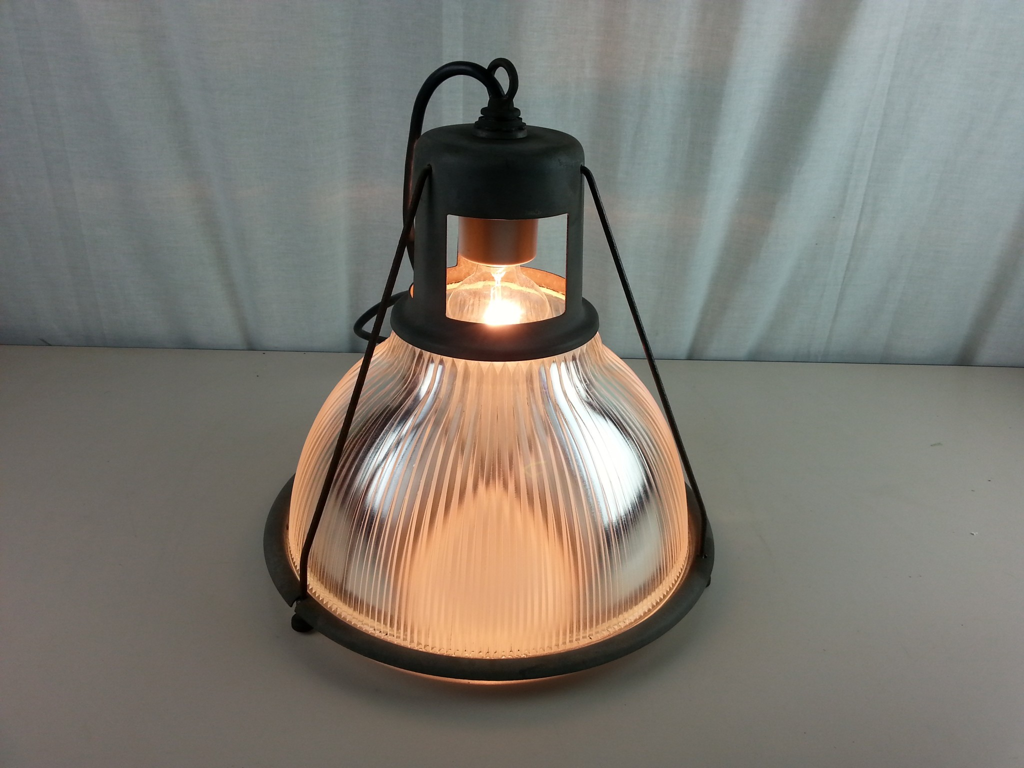 vintage holophane industrial light fixture with holophane 6585 shade