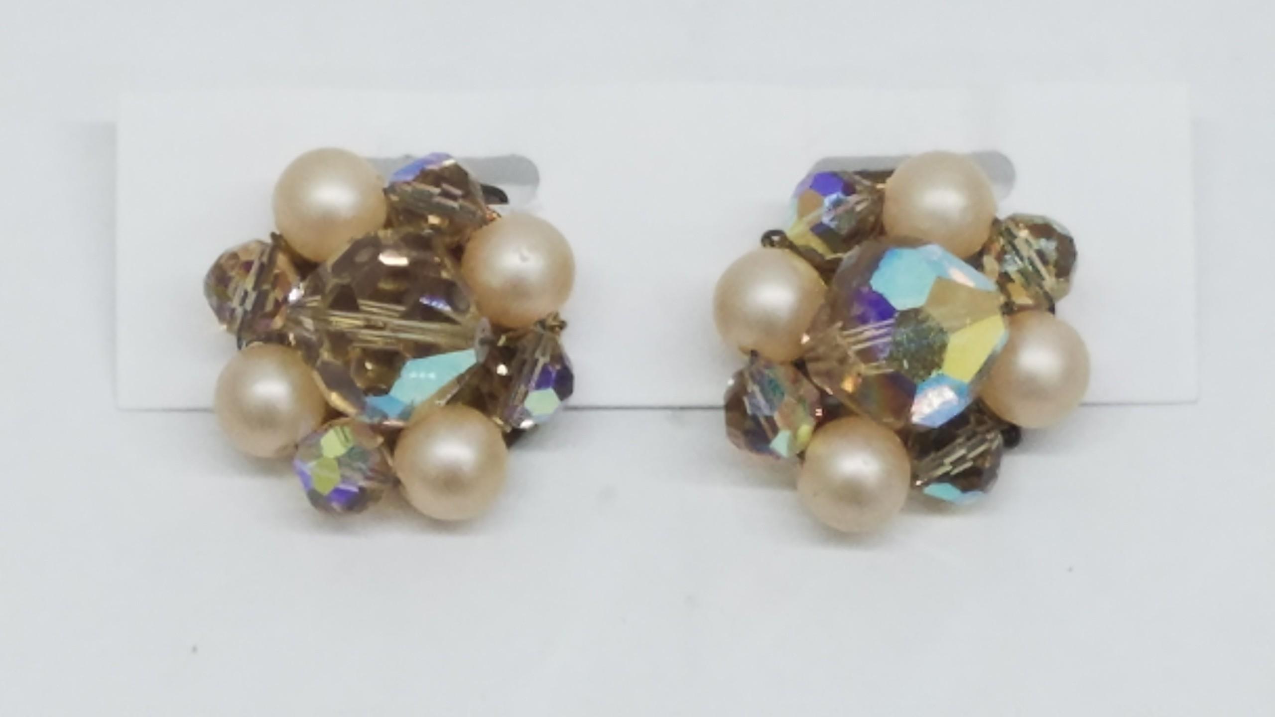 Vintage Clear Crystal Clip On Earrings