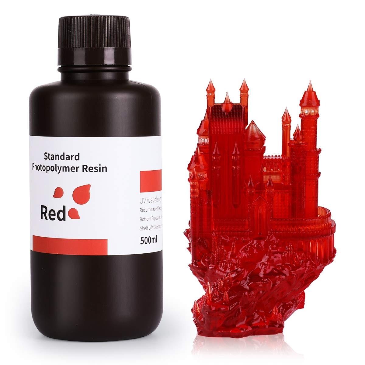 ELEGOO Standard 3D Printer Rapid Resin  500Gram Clear Red