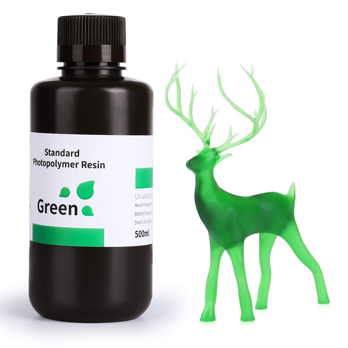 ELEGOO Standard 3D Printer Rapid Resin 500 Gram Clear Green
