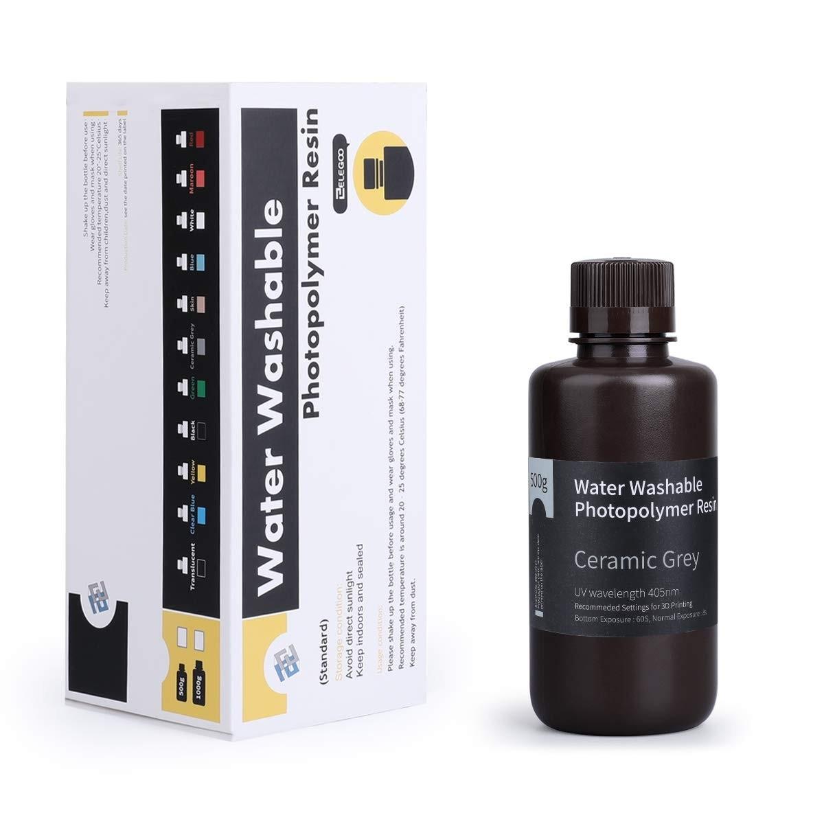 ELEGOO Water Washable 3D Printer Rapid Resin 500 Gram Ceramic Grey
