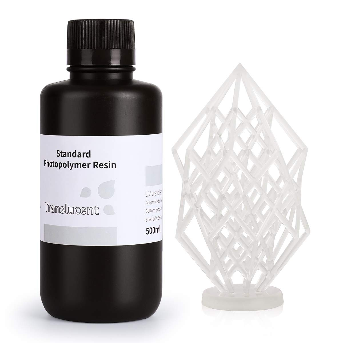 ELEGOO Standard 3D Printer Rapid Resin 500 Gram Translucent