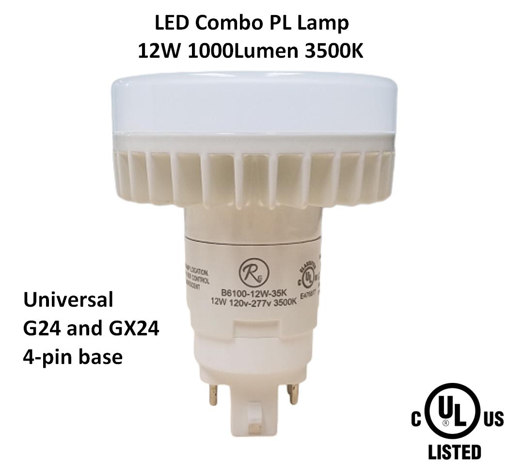 Reliance 12W LED PL Combo Lamp 3500K Universal G24, GX24 4-pin Base 1000 Lumen
