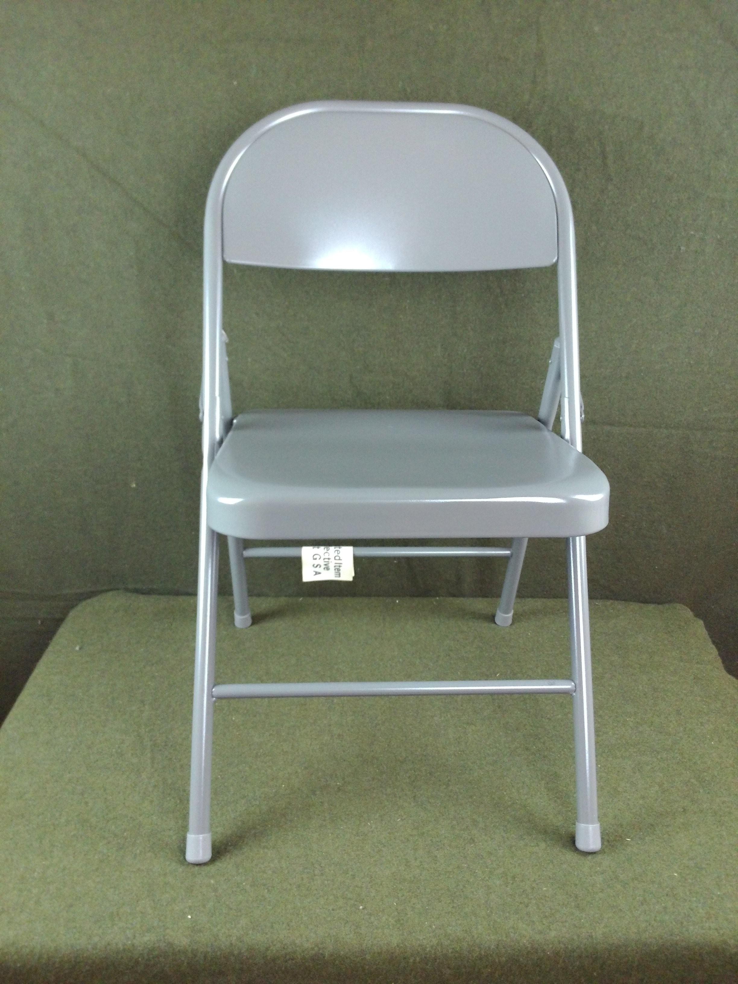 4 New KI Krueger Inc. 101 Gray Steel Folding Chairs Unupholstered