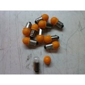 #53 12 Volt BA9S Mini Bayonet Bulb/Lamp Clear With Orange Filter Box of 10 New