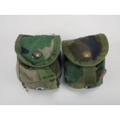 2 US Military MOLLE Hand Grenade / Utility Pouch Woodland Camo