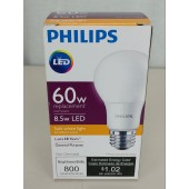 6 Philips 60W Equivalent Soft White A19 LED Light Bulb