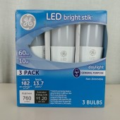3 Pack GE LED Bright Stik 10W 60W Equivalent, Daylight
