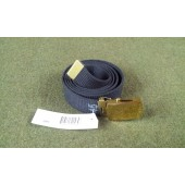 """Genuine Military Web Belt and Brass Buckle 1-1/4"""" Black Cotton  New"""