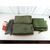 """US Military USGI Shelter Half Tent """"Pup"""" Kit w/ 2 Halves, Poles, Stakes, Ropes, Mosquito Net"""