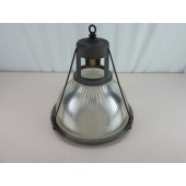 Vintage Industrial Light Fixture With Holophane  6585 Shade