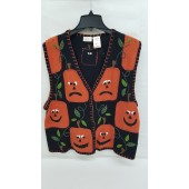 Bobbie Brooks Ladies Halloween Pumpkin Sweater Vest XL 16 \ 18