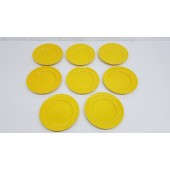"8 METLOX COLORSTAX PLATES Salad Dessert 7 3/4"" Calif. Pottery Yellow"