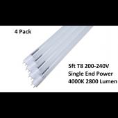 """4 Pack 5FT LED Tube Light Lamp Bulb T8 5 Foot 60"""" Inch 26W 4000K 200-240V Frosted"""