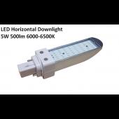 5W LED Horizontal Bulb Downlight  6000K 500 Lumen G24D Base