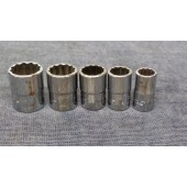 """5 Piece Snap-on 1/4"""" Drive Shallow Sockets 12 Point 9/16"""" - 5/16"""""""
