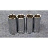 "S-K Tools 4pc 3/8"" Drive 12 Point Deep Standard Sockets 13/16"" to 5/8"""