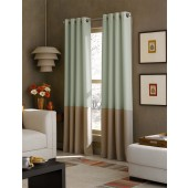 "2 Curtain Works Kendall 52"" x 95"" Color Block Grommet Curtain Panels - Peacock"