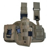 Tactical Drop Leg Holster Tan Right Handed w Accessory Pouch